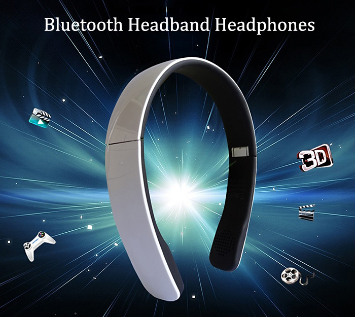 Wireless Bluetooth Stereo Adjustable Headband Headphones Foldable with Mic