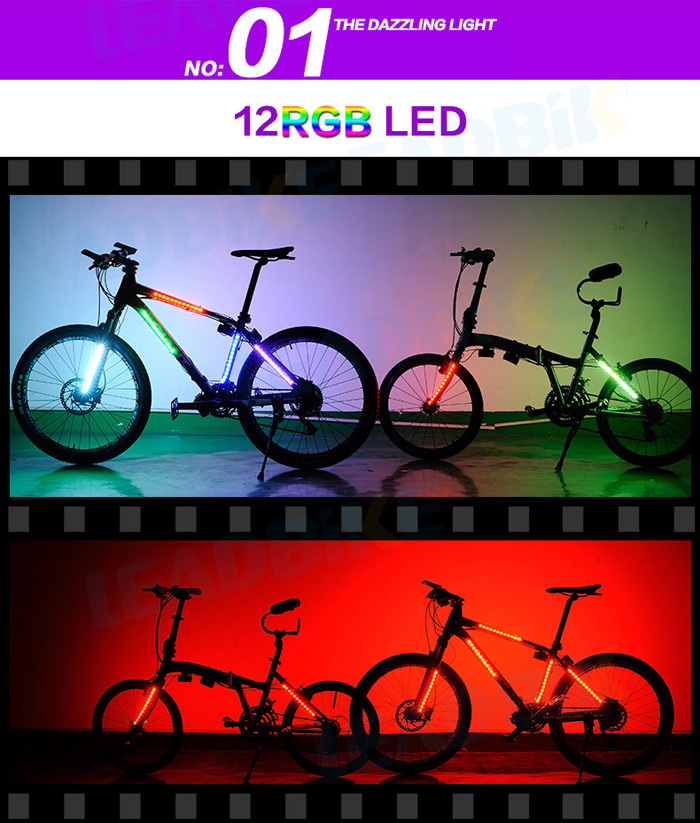 LEADBIKE A106 Bicycle Spoke Light 12RGB LED 8 Modes Spoke Light