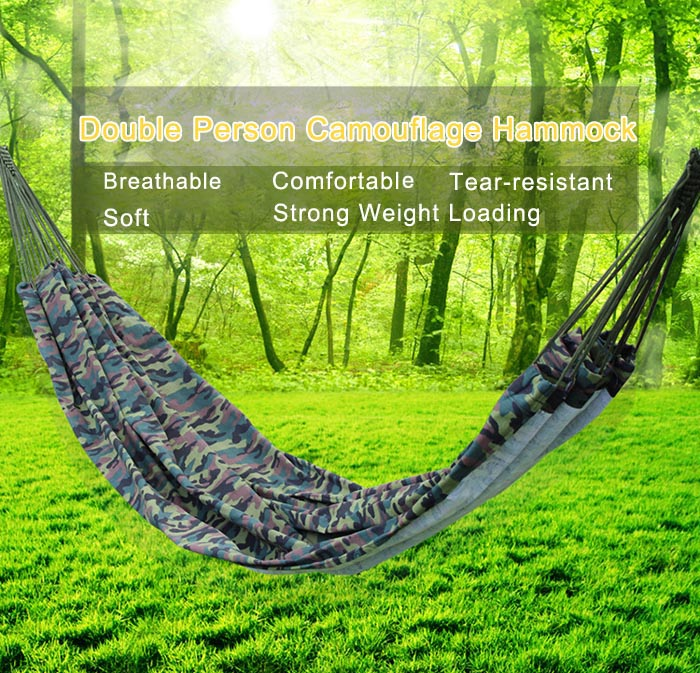 AOTU AT6739 Outdoor Camping Parachute Canvas Hammock for Two Person