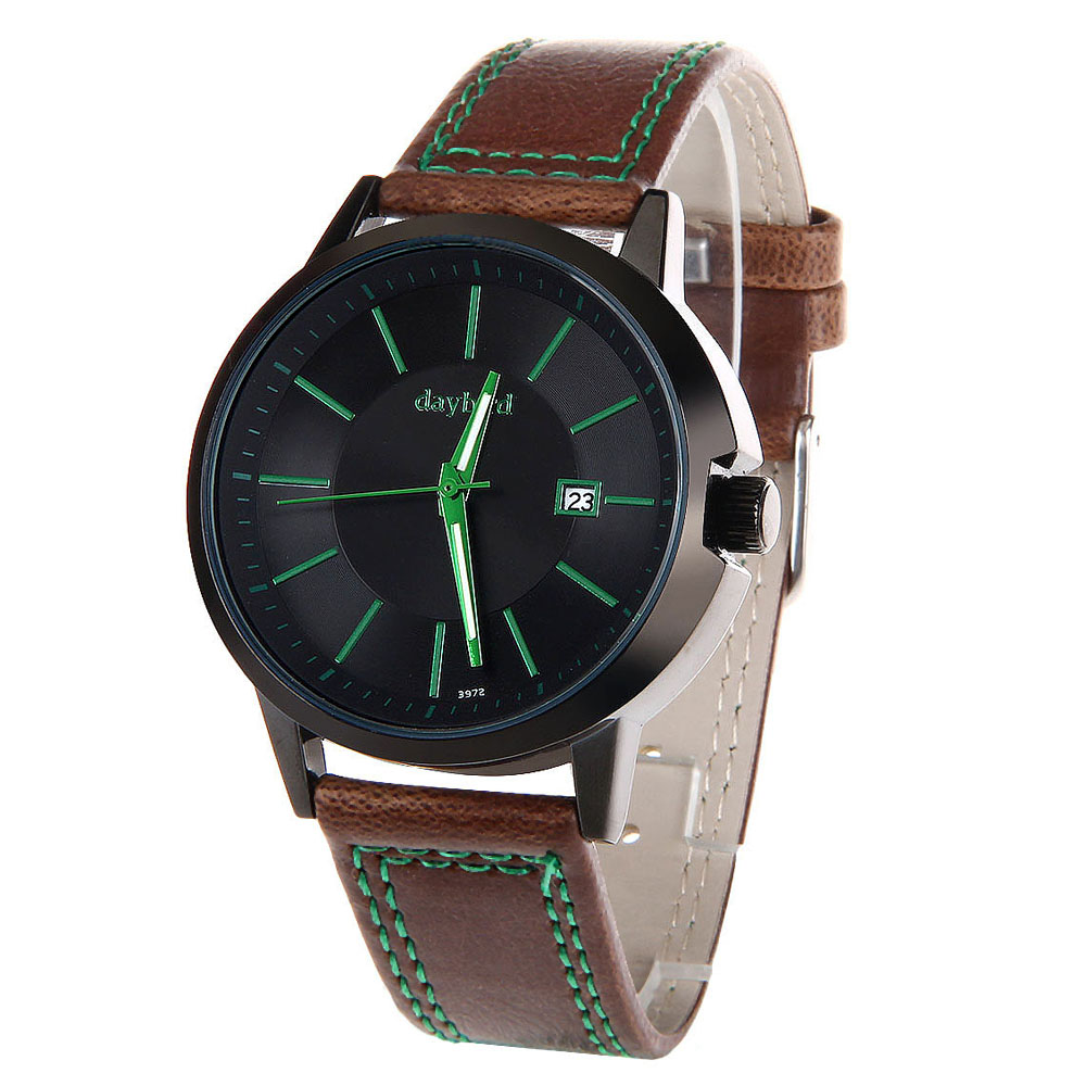 DayBird 3972 Men Quartz Watch PU Band Pin Buckle Date Display