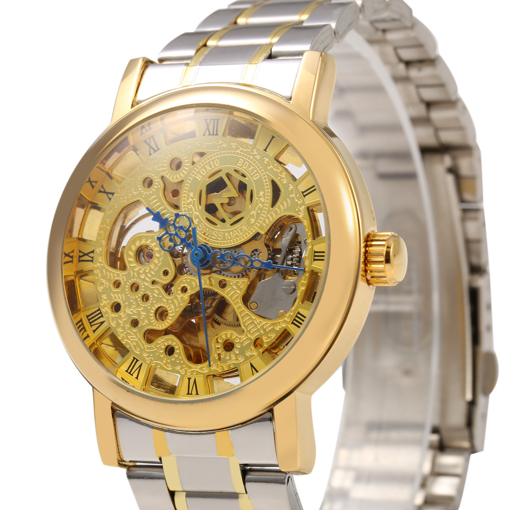 Boxio 9556 Roman Numerals Hollow-out Dial Automatic Mechanical Movt Watch for Men