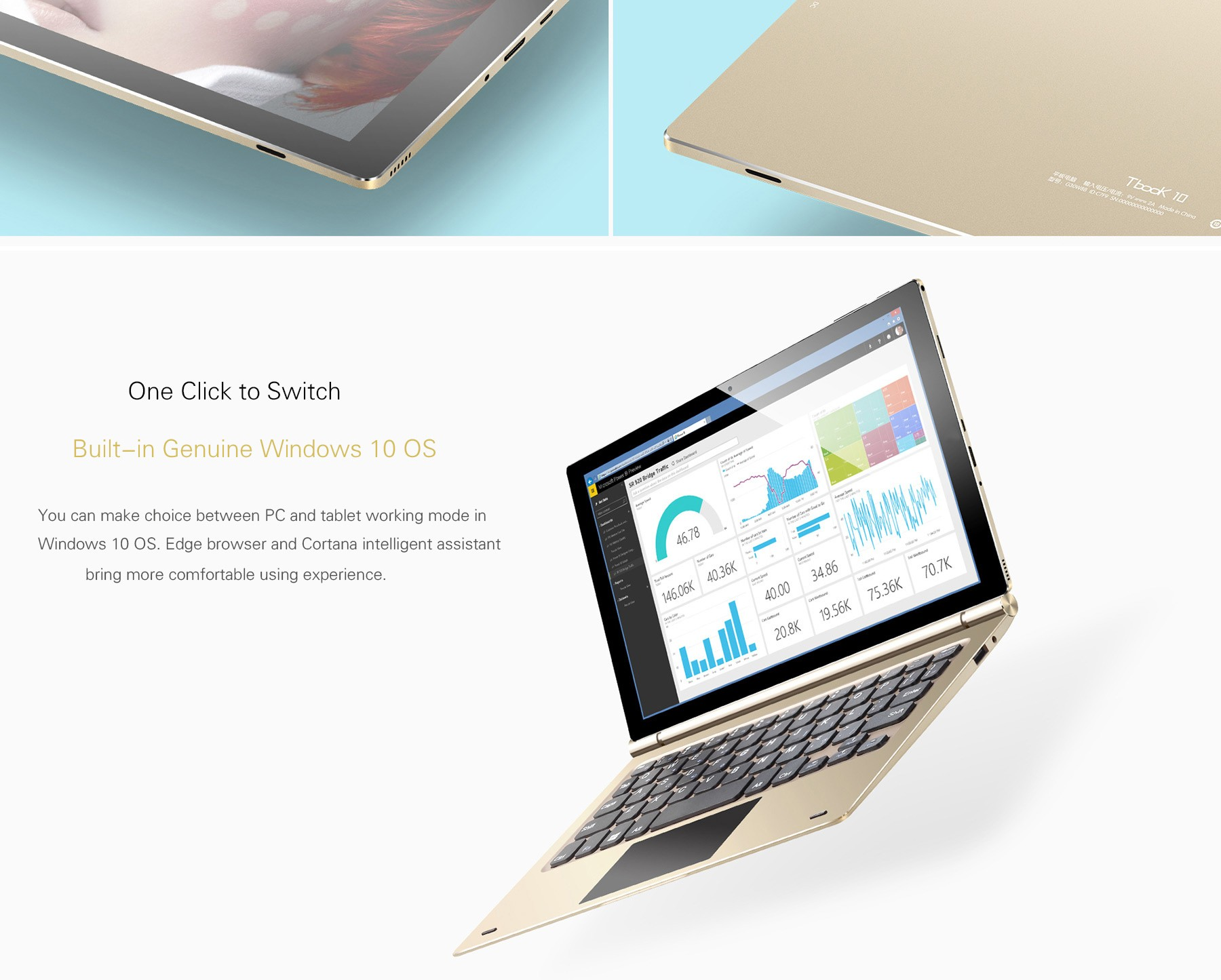 Teclast Tbook 10 2 in 1 Tablet PC 10.1 inch Windows 10 + Android 5.1 IPS Screen Intel Cherry Trail Z8300 64bit Quad Core 1.44GHz 4GB RAM 64GB ROM Bluetooth 4.0