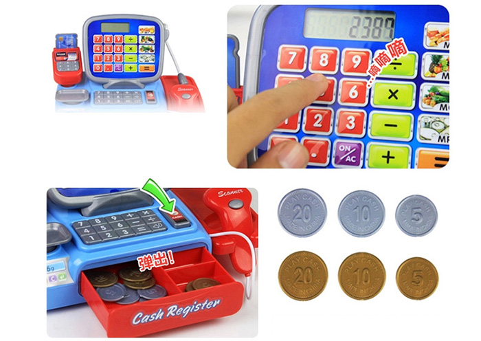 Cash Register with Calculator and Fun Accessories