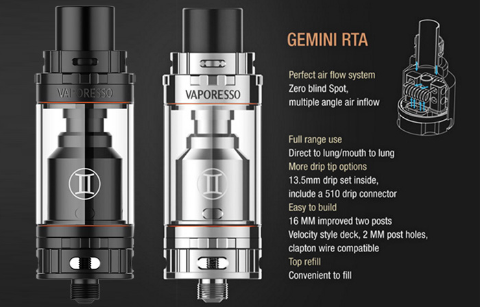 Original Vaporesso Gemini RTA 3ml Rebuildable Tank Atomizer with Multiple Angle Air Inflow for E Cigarette