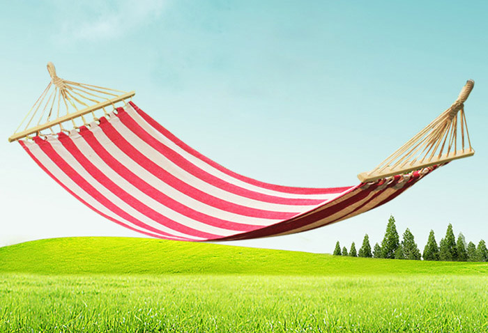AOTU AT6735 1 Person Cotton Fabric Hammock with Spreader Bar for Outdoor Camping