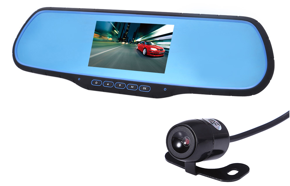H-05 12 - 24V 1080P Full HD Dual Lens Car Rearview Mirror DVR 170 Degree Wide Angle Camera Recorder G-sensor Loop Cycle Recording Motion Detection