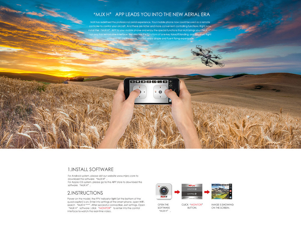 MJX X601H WiFi FPV 480P CAM Air Pressure Altitude Hold 2.4GHz / 4 Channel 6 Axis Gyro Hexacopter 3D Rollover