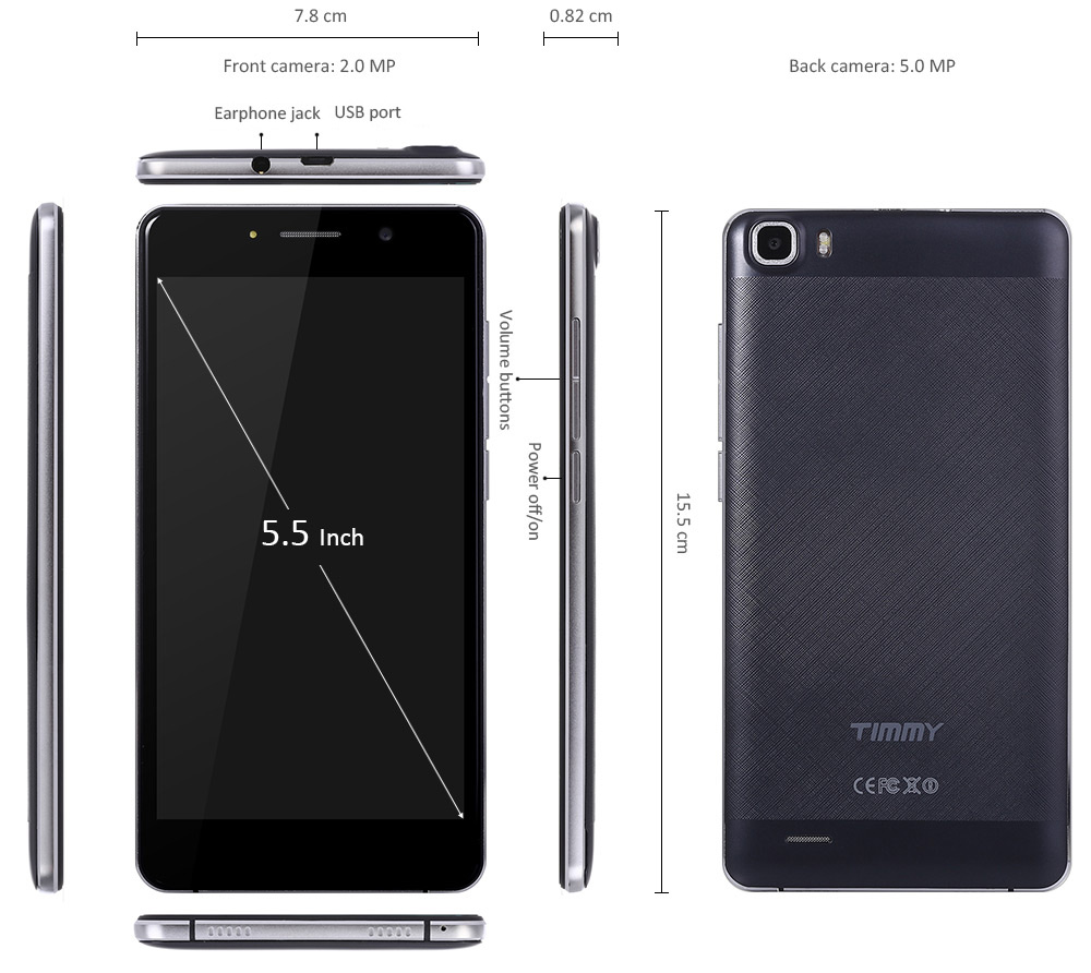 Timmy M12 5.5 inch 3G Phablet Android 5.1 MTK6580 Quad Core 1.3GHz 1GB RAM 8GB ROM WiFi Cameras Bluetooth 4.0