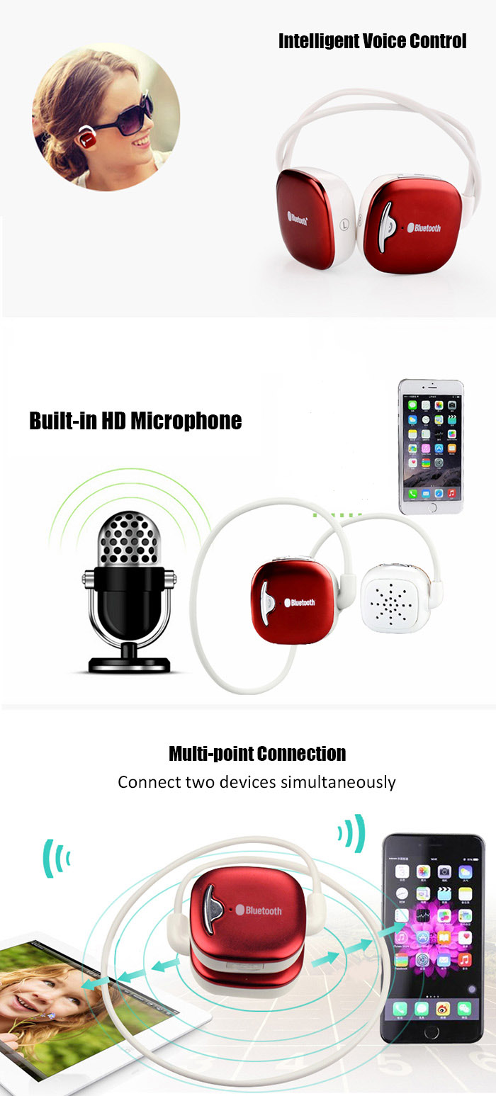 Plufy L8 Wireless Bluetooth V4.1 Sport Earphones with Mic CVC6.0 Noise Canceling