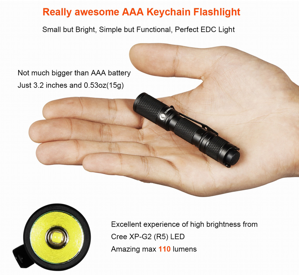 Lumintop Tool AAA 110LM Cree XP - G2 R5 3 Modes Waterproof LED Flashlight with Self-locking ( 1 x AAA Battery )