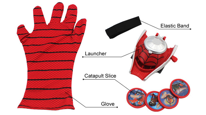 Cosplay Glove Launcher with Flying Saucer Toy Masquerade Accessory Birthday Gift