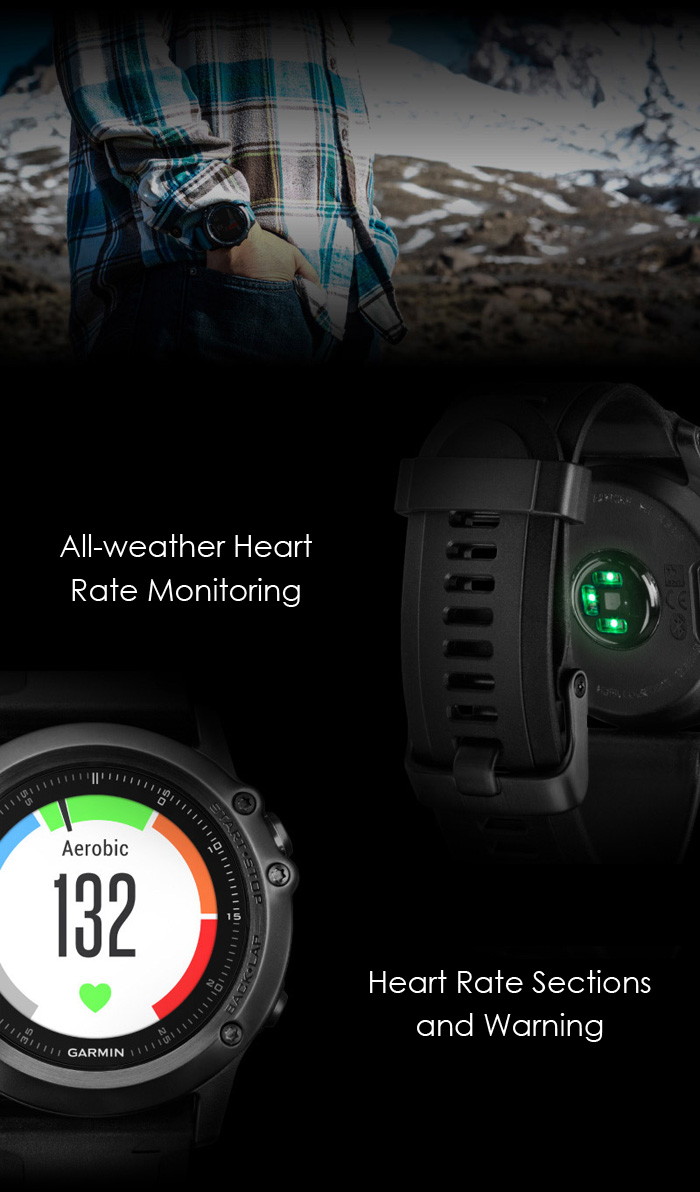 Garmin Fenix 3 HR Bluetooth 4.0 100m Waterproof Smart Watch