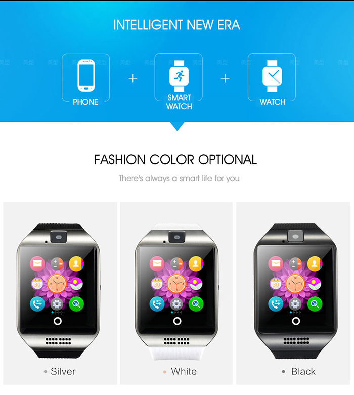 1.54 inch Q18 Smartwatch Phone MTK6261 NFC 2.5D Screen Built-in Camera Bluetooth Sound Recorder Sleep Monitor