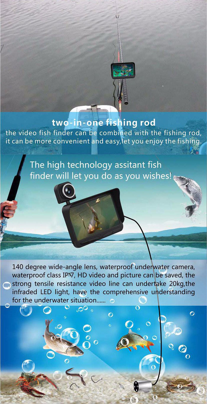 X2B HD Night Vision IPX7 Waterproof Double-lens Visual Fish Finder with 4.3 inch LCD Screen