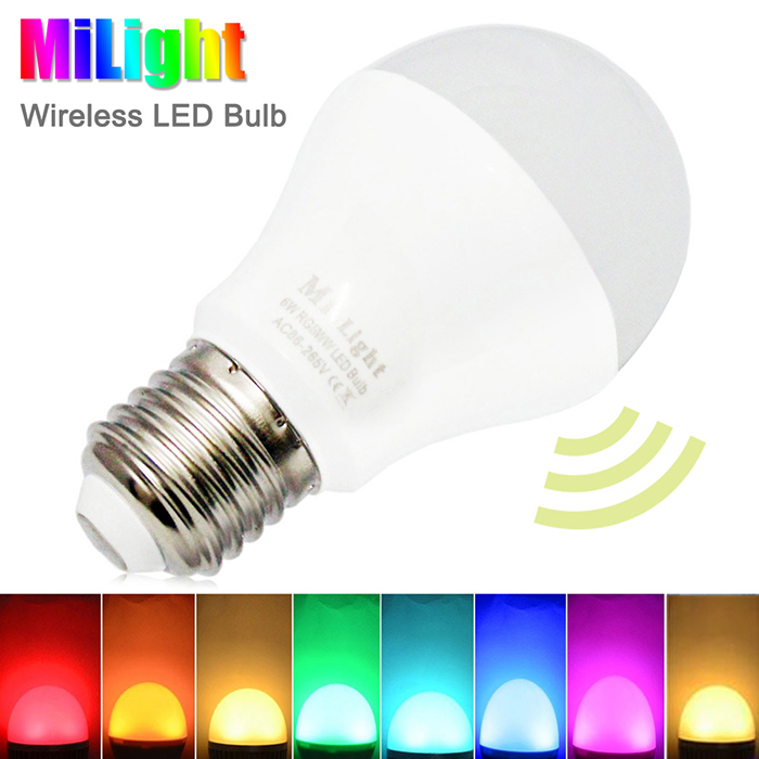 Milight 2.4Ghz Wireless Control Dimmable RGBW LED Ball Bulb E27 6W