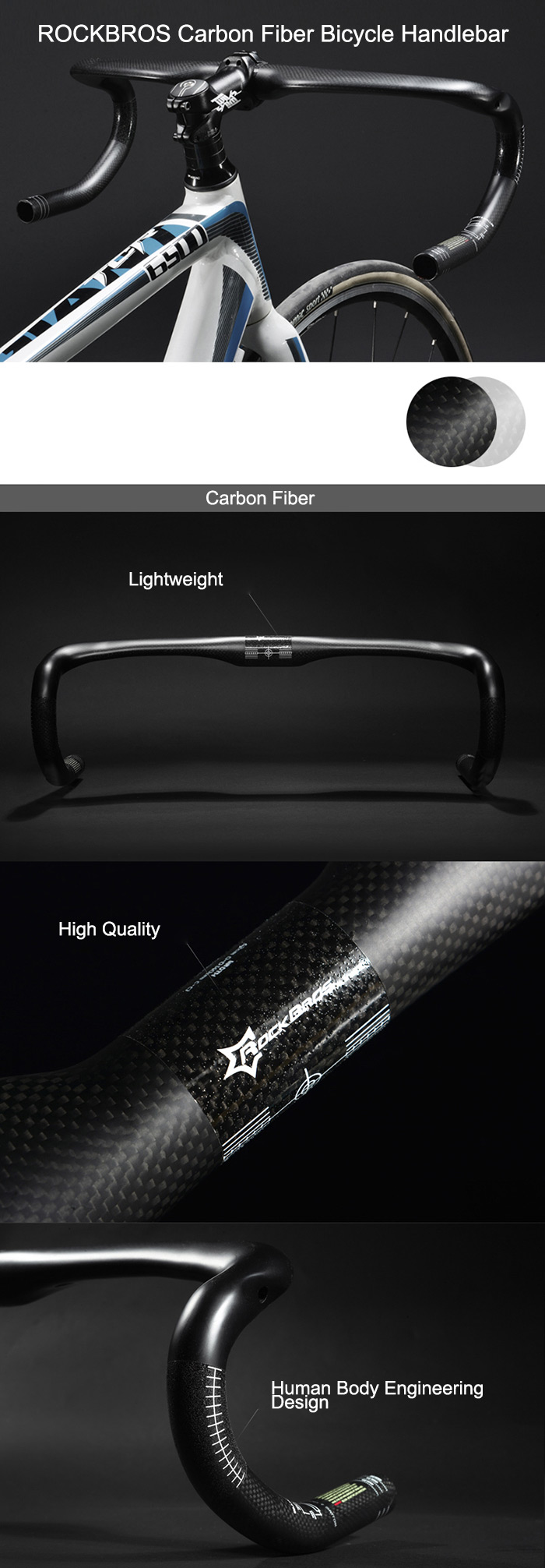 ROCKBROS 31.8 400/420/440 Carbon Fiber Bicycle Handlebar for Road Cycling