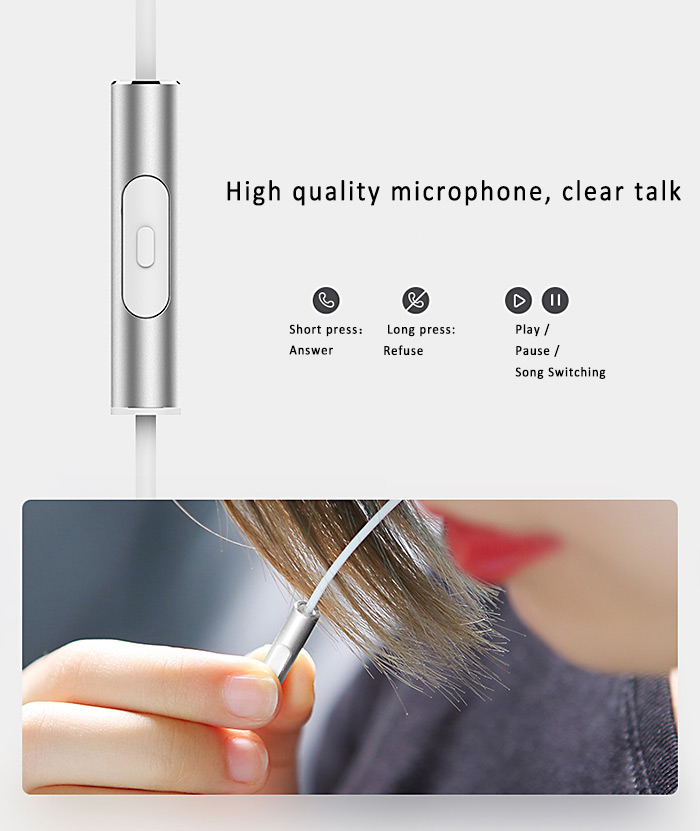 Rock RAU0510 In-Ear Stereo Earphones 3.5mm Jack Mega Bass Sport Earbuds with Microphone Support Handsfree Calls