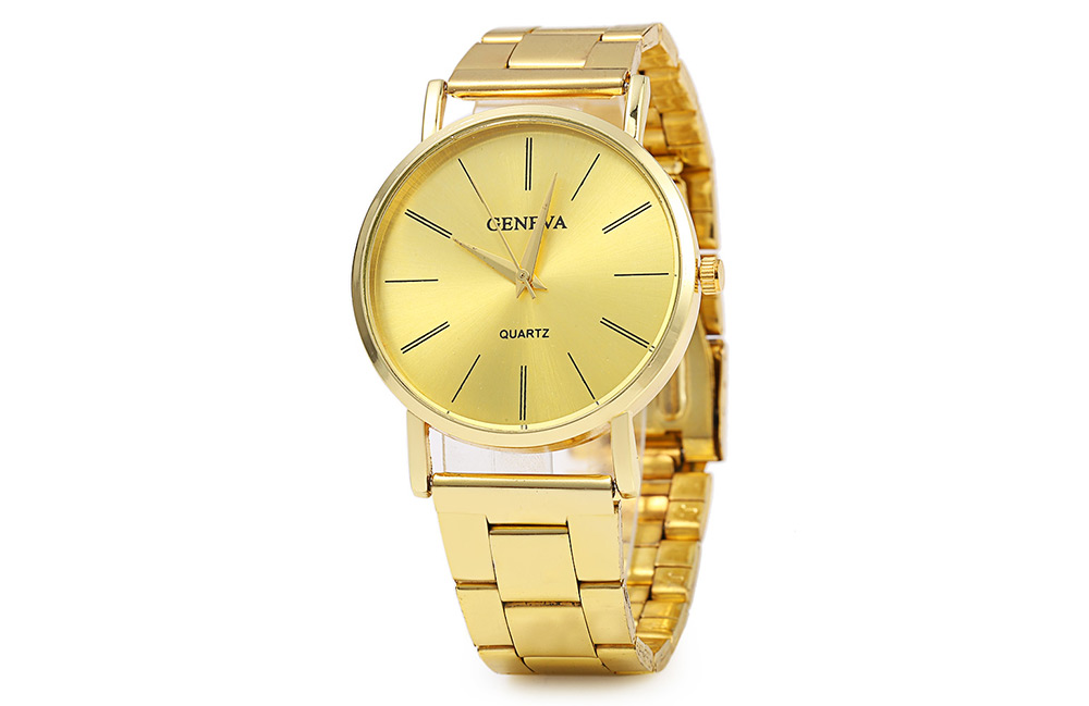 GENEVA 002 Business Style Male Quartz Watch with Golden Dial