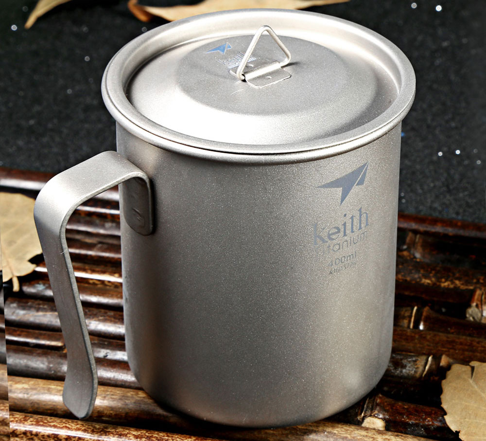 Keith Ti3263 400mL Titanium Cup with Fixed Handle