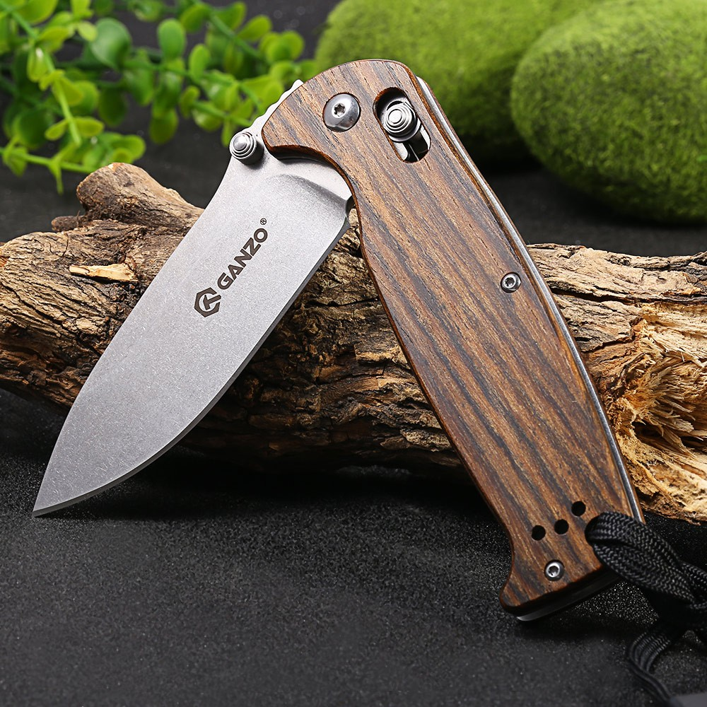 Ganzo G7412-WD1-WS Axis Lock Folding Knife + Whistle