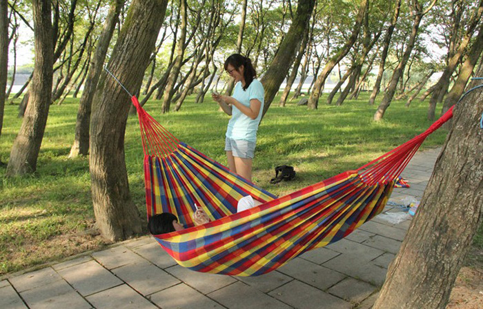 GAZELLEOUTDOORS HLY-C2001 2-Person Widened Thickened Canvas Hammock