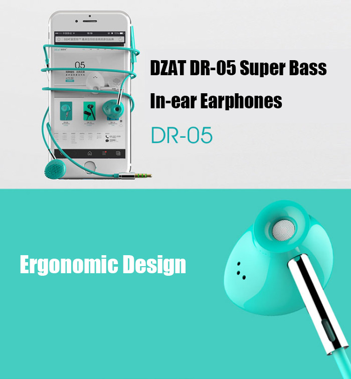 DZAT DR-05 Super Bass HiFi Music In-ear Earphones with Mic for Smartphones / Tablets / MP3 / MP4