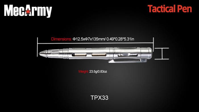 MECARMY TPX33 1pc Multifunctional Titanium Alloy Tactical Pen Glass Breaker