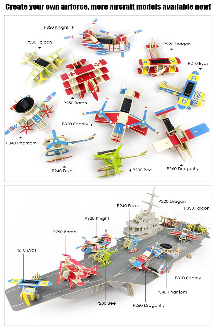 Solar Early Warning Aircraft Phantom P340 Puzzle Scientific Green Energy DIY Toy Blocks