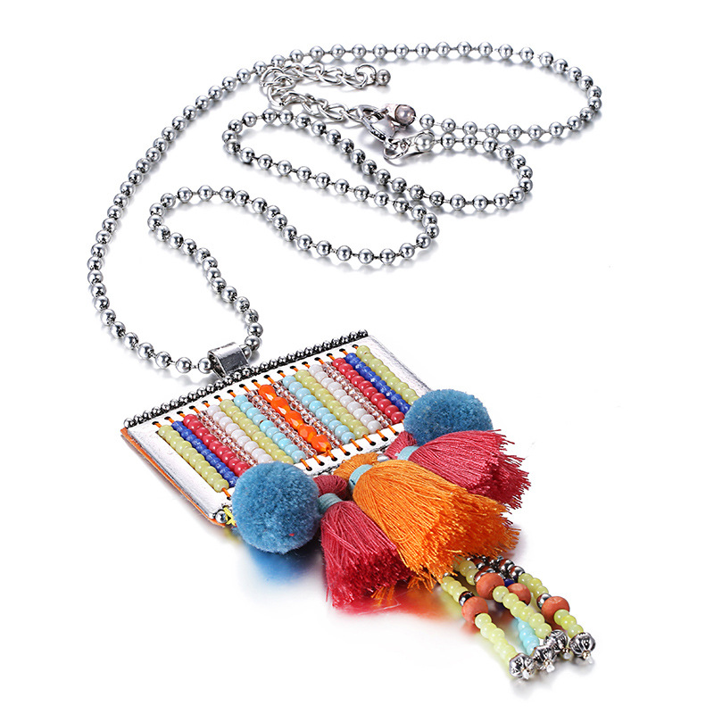 ELANDIS Bohemian Artificial Colorful Beads Long Necklace for Women