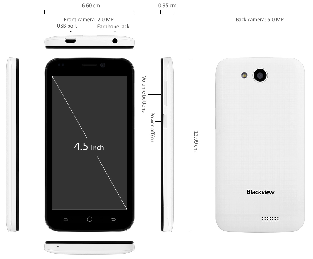Blackview A5 4.5 inch 3G Smartphone Android 6.0 MTK6580 Quad Core 1.3GHz 1GB RAM 8GB ROM WiFi Bluetooth 4.0 Dual Cameras