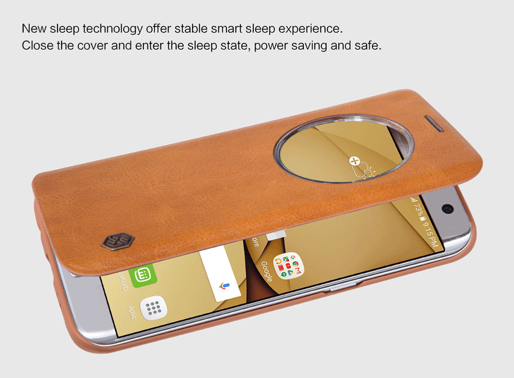 Nillkin QIN Series Auto Sleep Protective Case for Samsung Galaxy S7 Edge PU Leather Full Cover Mobile Protector with View Window