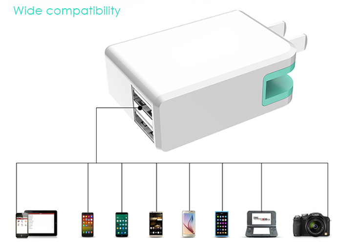 USAMS HKL-050200 Smart Travel Power Charger with Dual USB Ports Foldable Design