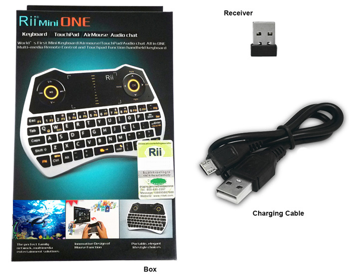 Rii Mini 2.4GHz Wireless Touchpad / Keyboard Built-in Lithium Battery for Smart TV