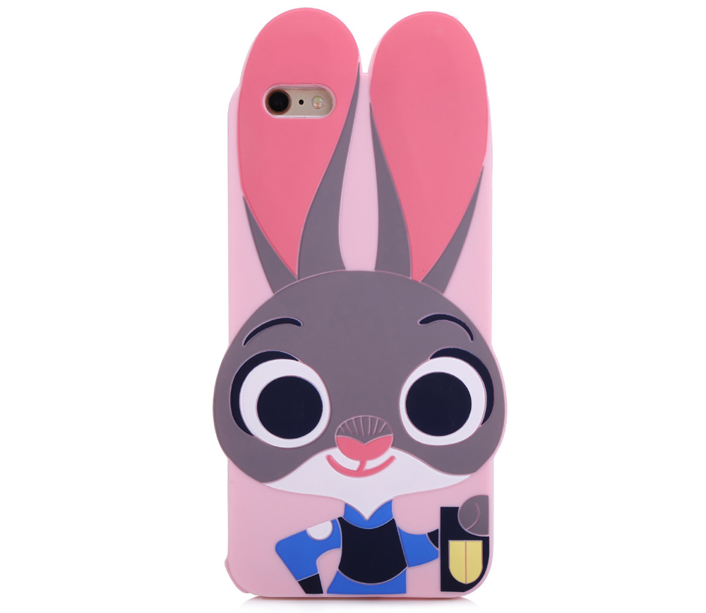 Cartoon Rabbit Pattern Protective Back Cover Case for iPhone 6 Plus / 6S Plus Silicone Soft Mobile Shell with Button Protection