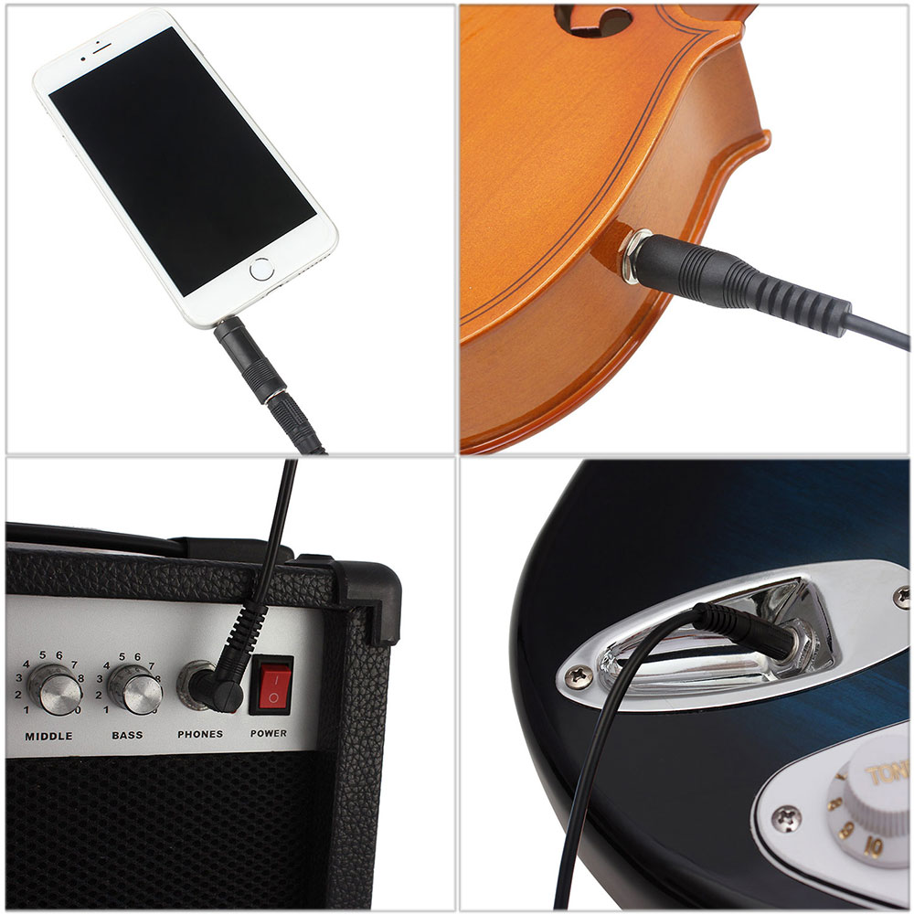 2.55m 6.5mm Guitar Cable Universal Connecting Line for Musical Instrument Phone