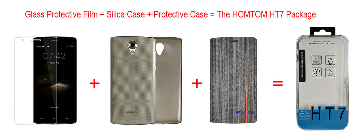 Original HOMTOM HT7 Package Gift with Tempered Glass Protector Silicone Back Case Protective Full Body Cover Three-piece
