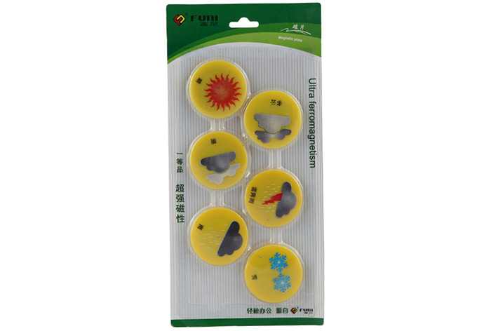 FUNI CT-6653 Magnets Whiteboard Sticker Beans 6PCS for Office