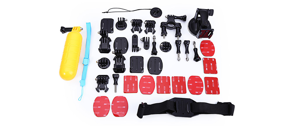 GP-K16 Universal Action Camera Accessory Kit Head / Helmet Mount Strap Suction Cup Bracket Floaty Grip with Storage Box