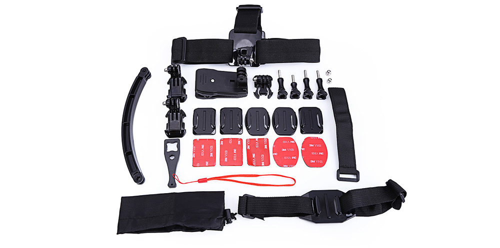 GP-K12 Universal Action Camera Accessory Kit Head / Helmet Mount Strap Selfie Arm Backpack Clip