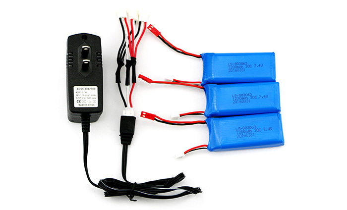 3Pcs 7.4V 1200mAh 30C Battery + Charger and Connecting Cable for i Drone i8H / X6 / MJX