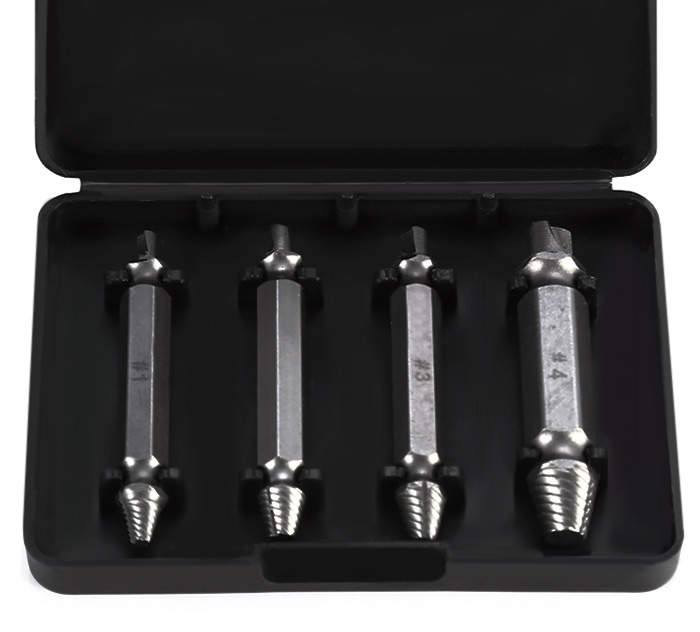 4PCS Double Side Damaged Screw Extractor S2 Alloy Steel Out Remover Bolt Stud Tool