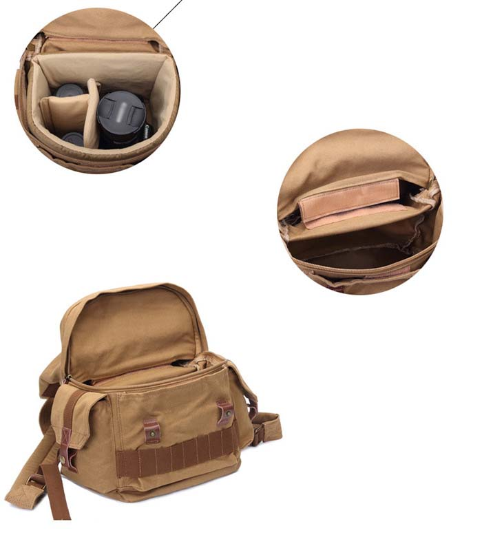 29L Canvas Photography Bag Outdoor Backpack for Climbing