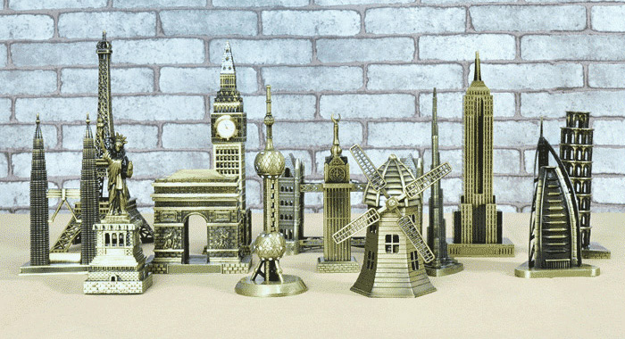 DECAKER Empire State Building Model Aluminum Alloy Architecture Decoration Toy