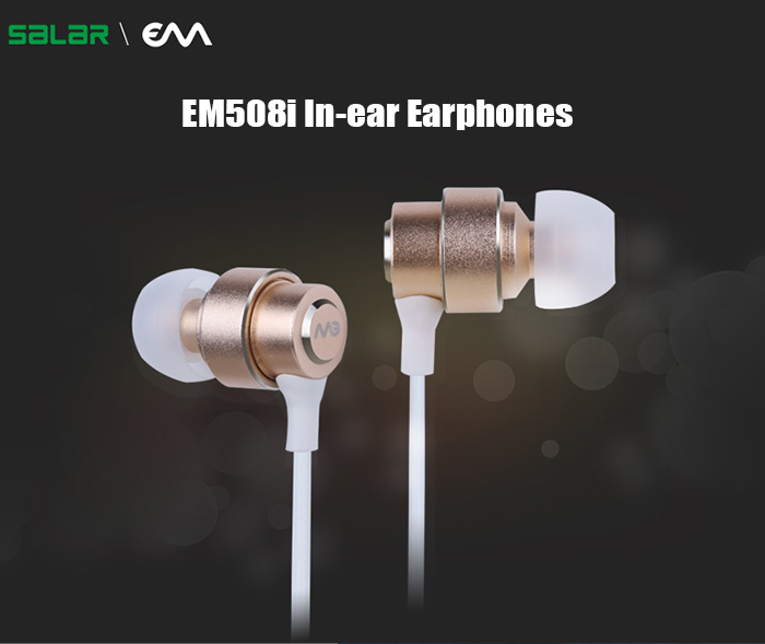 SALAR EM508i Metal In-ear Earphones Super Bass with Mic Support Hands-free Call for Smartphone / Tablet / MP3 / MP4