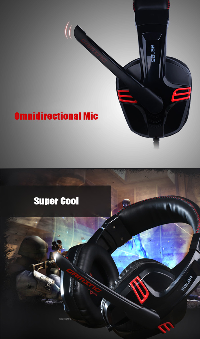 SALAR KX236 Gaming HiFi Headsets with Mic Support Hands-free Call Voice Control Adjustable Headband for Game Player