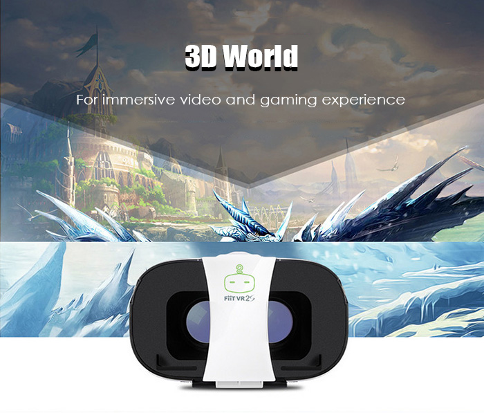 FIIT VR 2S Virtual Reality 3D Glasses with 102 Degrees FOV IPD Adjustment for 4 - 6.5 inch Smartphones with Remote Controller