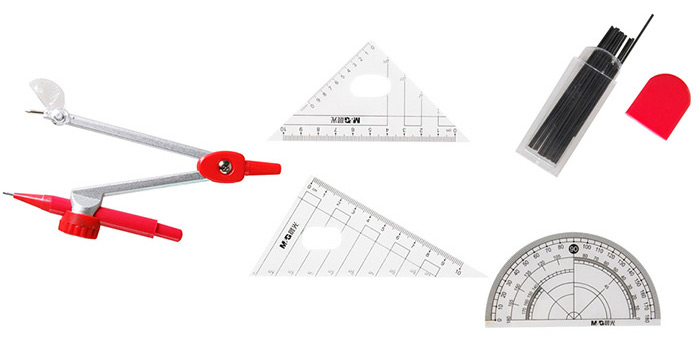 MG ChenGuang 7PCS ACS90823 Geometry Ruler Combination Sets and Drawing Compass