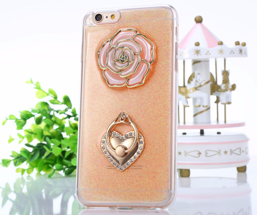 Rose Pattern Protective Back Cover Case for iPhone 6 Plus / 6S Plus TPU Soft Mobile Protector with Ring Bracket