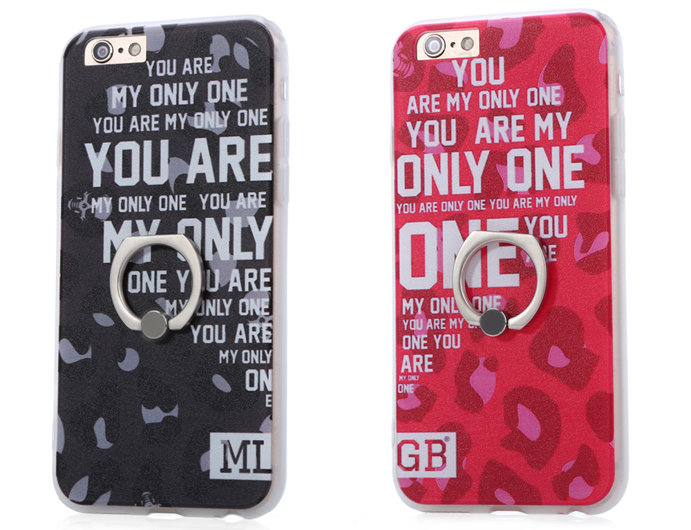 Stylish Letter Pattern Protective Back Cover Case for iPhone 6 Plus / 6S Plus TPU Soft Mobile Protector with Ring Bracket