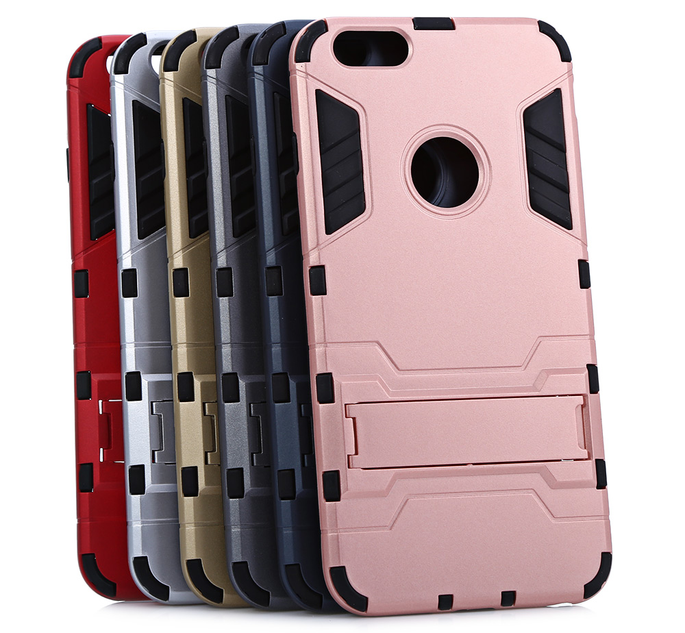Warrior Armour Style Protective Back Cover Case for iPhone 6 Plus / 6S Plus with Phone Stand Holder